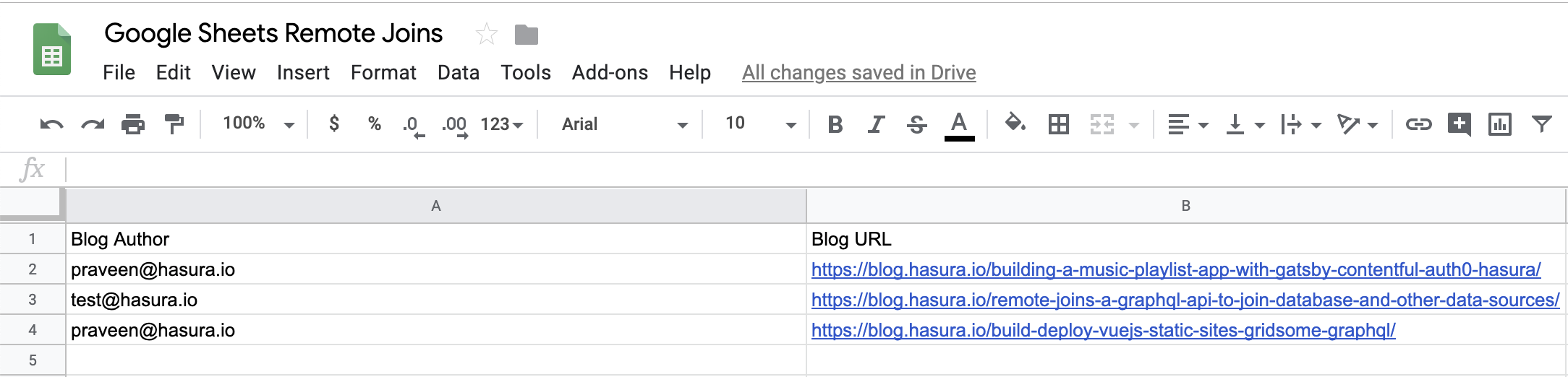 Join data from Google Sheets API and Postgres using Hasura