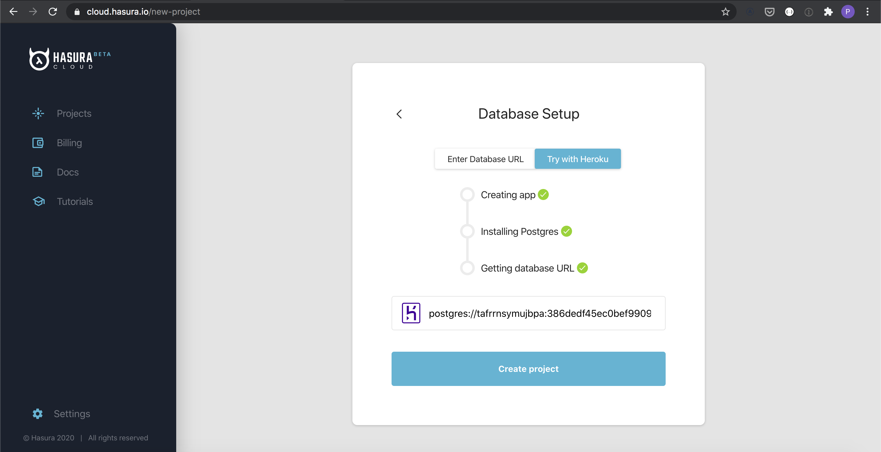 Heroku Database Deployment on Hasura Cloud