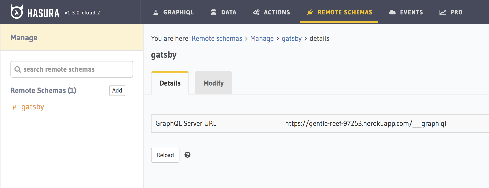 Gatsby Remote Schema added to Hasura
