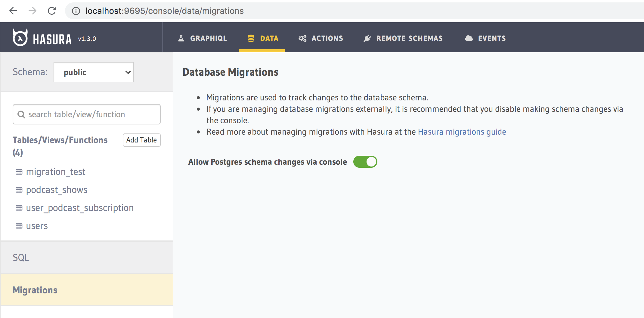 Database Migrations tab on Hasura Console