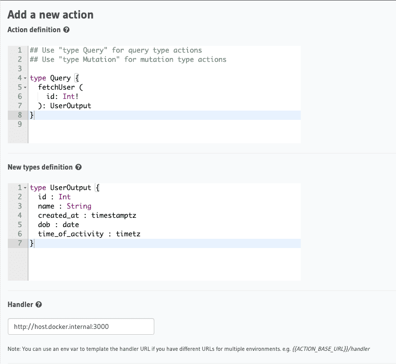 Action with Custom GraphQL Types