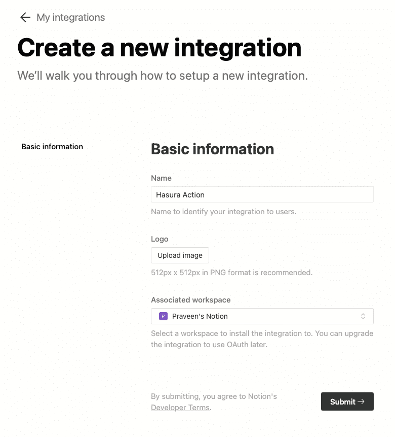 Create a new integration on Notion